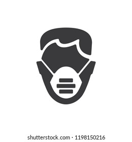 Medical mask vector icon. Health,hospital symbol flat vector sign isolated on white background. Simple vector illustration for graphic and web design.