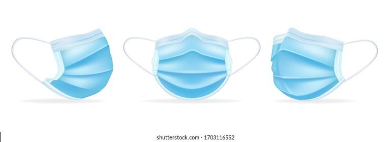Modèle de masques médicaux sous différents angles. Protéger le coronavirus, l'infection et l'air contaminé. Masque chirurgical 3D réaliste. Isolé sur fond blanc. Illustration vectorielle