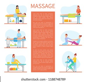 Medical massage room cartoon sample banner with text. Hot stone and facial, with apparatus and self, on armchair and on rug, treatment massaging session