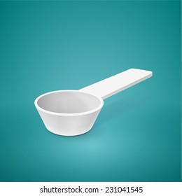 Medical measuring spoon isolated on turquoise background. Vector illustration.