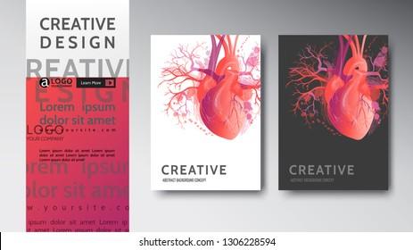 medical modern abstract covers set. Vector art illustration. Pattern heart