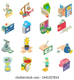 Medical money icons set. Isometric set of 16 medical money vector icons for web isolated on white background