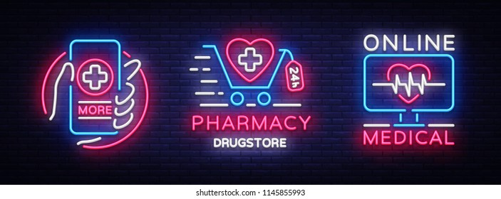Medical neon sign collection vector. Pharmacy Design template neon sign, light banner, neon signboard, nightly bright advertising, light inscription. Vector Illustration