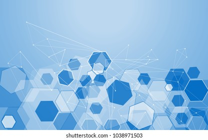Medical network isolated on blue background. Abstract concept for web site,poster,placard,wallpaper and banner. Useful for brochure,layout and backdrop. Creative art,modern design, vector illustration