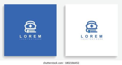 Medical nurse book education logo. Modern logo icon template vector design