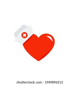 Medical nurse hat with heart icon. Clipart image isolated on white background