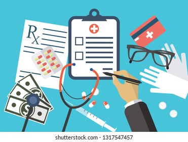 Medical object poster with blue background including glasses, money and board.