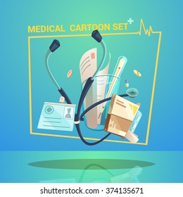 Medical objects set with thermometer pills and stethoscope cartoon vector illustration