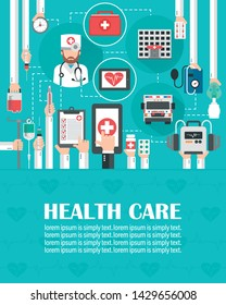Medical online call flat design with ambulance,hospital,and doctor isolated.lorem ipsum is simply text.Vector illustration