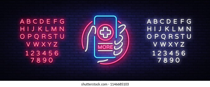 Medical Online neon sign design template. Medical Online neon emblem, light banner. Online consultation. Smartphone in hand. Vector illustration. Editing text neon sign
