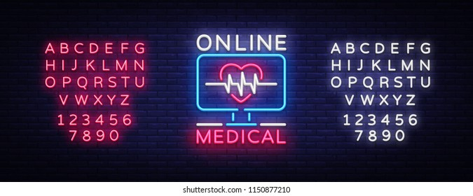 Medical Online neon sign design template. Medical Online neon emblem, light banner. Online consultation. Vector illustration. Editing text neon sign