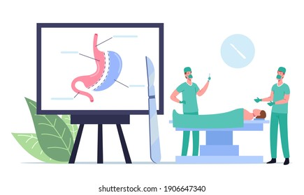 Medical Operable Weight Loss Procedure. Surgeon Male Characters Make Operation Bariatric Surgery Stomach Reduction to Patient Lying on Medic Couch in Operating Room. Cartoon People Vector Illustration