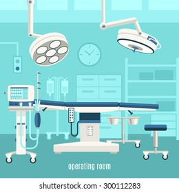 Medical operation room equipment and accessories with monitors treatment table and major surgery light abstract vector illustration