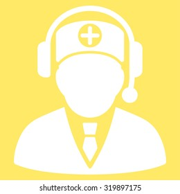 Medical Operator vector icon. Style is flat symbol, white color, rounded angles, yellow background.