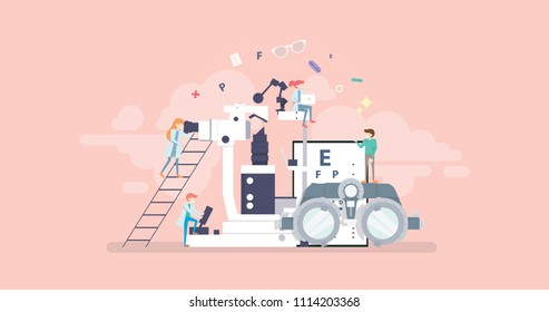 Medical Ophthalmologist Eyesight Check Up Tiny People Character Concept Vector Illustration, Suitable For Wallpaper, Banner, Background, Card, Book Illustration, And Web Landing Page Concept