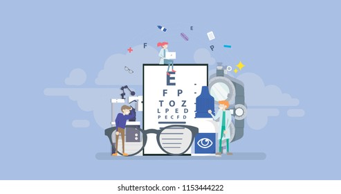 Medical Ophthalmologist Eyesight Check Up Tiny People Character Concept Vector Illustration, Suitable For Wallpaper, Banner, Background, Card, Book Illustration, And Web Landing Page