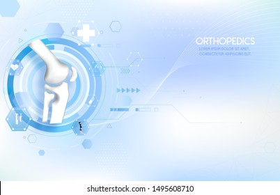 Medical orthopedic abstract background. Treatment for orthopedics traumatology of knee bones and joints injury. Medical treatment care presentation, hospital. Vector illustration