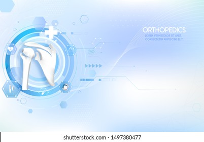 Medical orthopedic abstract background. Treatment for orthopedics traumatology of shoulder bones and joints injury. Medical treatment care presentation, hospital. Vector illustration