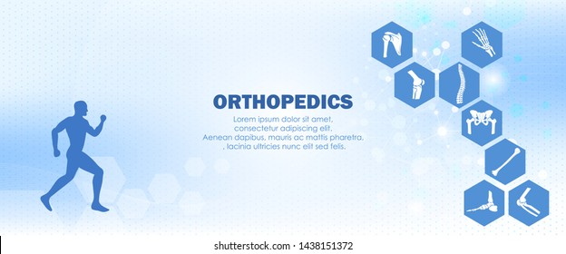 Medical orthopedic anatomy. Human silhouette in motion with marked spine, pelvis, knee, foot, shoulder, elbow, and, humerus bones and joints. Orthopedics medical molecule Hexagon.Vector illustration