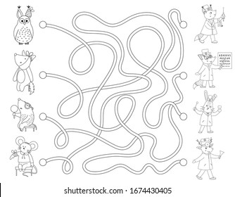 Medical outline maze for children. Preschool medicine activity. Funny puzzle game with cute ill patients and doctors. Coloring page for kids. Who can help the animals?
