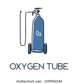 medical oxygen tank set with nasal cannula minimalist hand drawn medic flat icon illustrartion