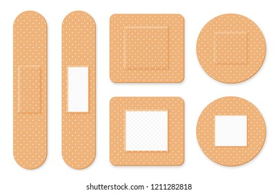 Medical patch, adhesive bandage. Set of elastic medical plasters in different shapes. Realistic first aid band plasters. Vector
