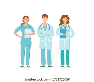 Medical people in face protection mask cartoon characters vector illustration. Doctors professional team for fighting the coronavirus. Stop the covid-19 healthcare concept with hospital workers.