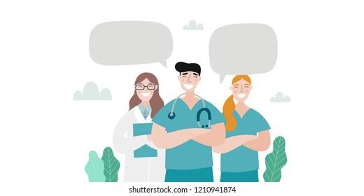 Medical people profession modern vector illustration. Doctor and hospital cartoon vector print.