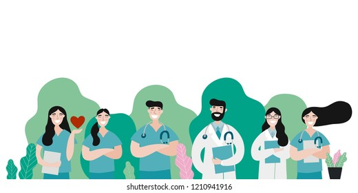 Medical people profession modern vector illustration. Doctor and hospital cartoon vector print.
