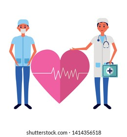 medical people staff professional heartbeat suitcasevector illustration