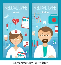 Medical personal doctor assistant and nurse characters with accessories 2 vertical banners poster print abstract vector illustration