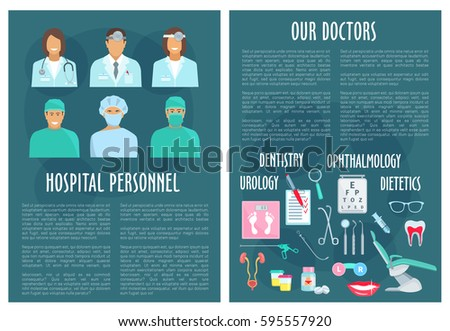 medical personnel hospital staff posters dentistry stock vector
