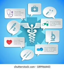 Medical pharmacy ambulance paper infographic with icons and speech bubbles vector illustration.