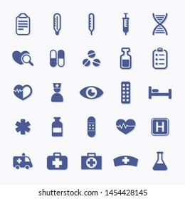 Medical pharmacy flat vector icon set for hospital
