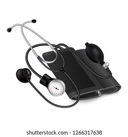 Medical phonendoscope icon. Realistic illustration of medical phonendoscope vector icon for web design isolated on white background