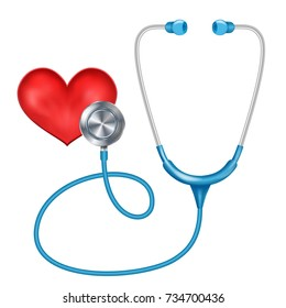 Medical Phonendoscope Isolated Vector. Medical Diagnosis. Red Heart. Health ?are Concept. Illustration