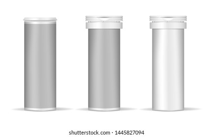 Medical pill cylinder box, realistic vector mockup. White metal or plastic tube with cap and blank label - open and closed, template. Medicine effervescent tablet jar.