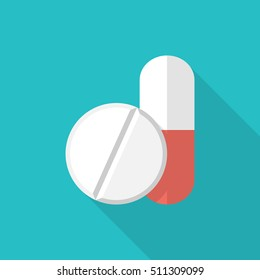 Medical pill icon. Vector illustration flat design. Capsule and tablet isolated on background with long shadow.