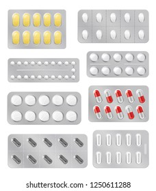 Medical pills in blisters, medicine drugs icons and signs vector. Blister with capsules, tablet for illness and pain treatment packaging. Antibiotic, aspirin, painkiller and vitamin realistic mockups