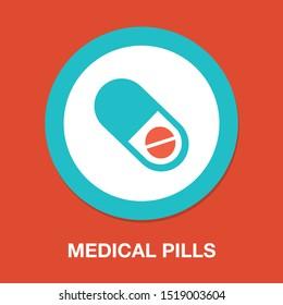 medical pills icon, medicine icon, health tablet, drug symbol