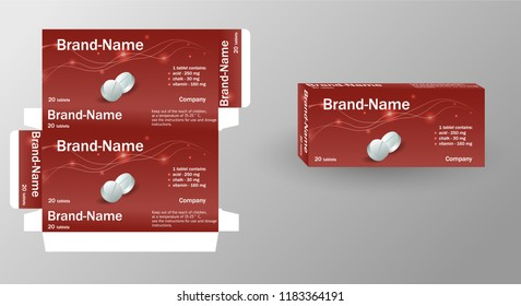 Medical pills in pack. Medications isometrics. Healing in cardboard box. Health pilule. vitamins. Design boxes for packaging medical products tablets capsules