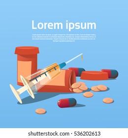 Medical Pills Tablets, Bottle Health Care Flat Vector Illustration