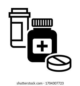Medical pills, tablets and bottles icons for drugstore, ui, web, app. Health Care Medicine symbol illustration.