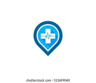 Medical Pin Logo Design Template Element