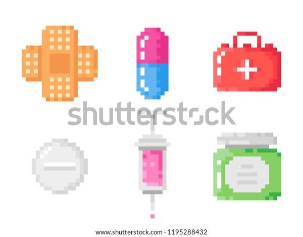 Medical Pixel Pills Bottle Patch Syringe Stock Vector