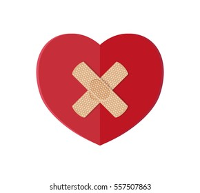 Medical plaster on red heart. Vector illustration in flat style.