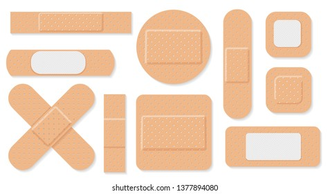 Medical plaster. Medical plasters isolated on white background, wound plasterer or bandaged patch, vector adhesive health care object