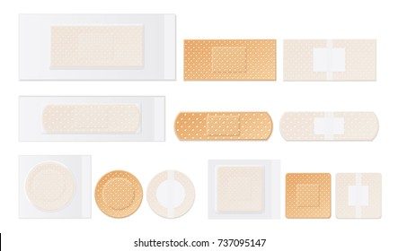 Medical plasters water resistant perforated plastic first aid adhesive tape round rectangular square realistic set isolated vector illustration