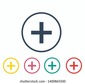 Medical Plus icon. Plus Icon. Add plus icon. Addition sign - Vector