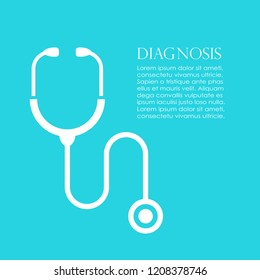 Medical poster design with stethoscope, vector illustration on blue background